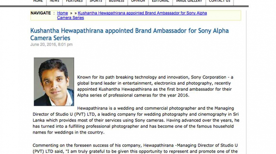 Brand Ambassador for Sony Alpha